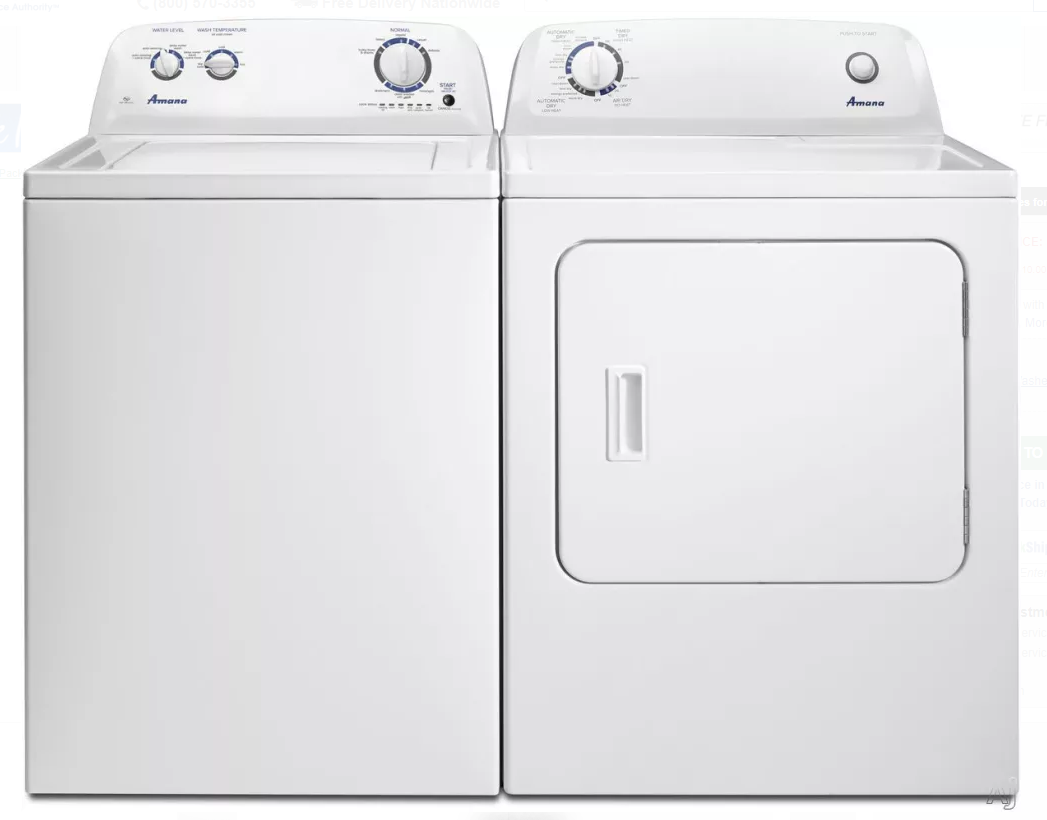 Amana 3 5 Cu Ft Top Load Washer Amp Dryer In White Color